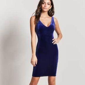 F21 Blue Velvet Tank Dress